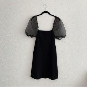 zara organza puff sleeve mini dress